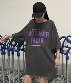 5020# 官方图 牛奶丝 2020春夏新款中长款T恤女短袖宽松字母上衣