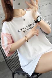 100%纯棉 宽松短袖t恤韩版女装新款网红同款百搭上衣服嘻哈潮ins