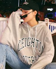 245#  韩国ulzzang原宿bf风字母印花加厚连帽卫衣外套女