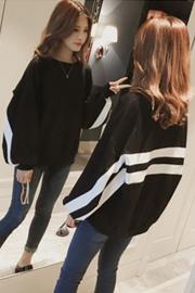352#秋季新款韩版条纹撞色灯笼袖卫衣女学生长袖宽松黑色上衣外套