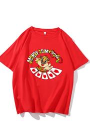 实价纯棉拼款2021新年贺岁服情侣喜庆本命年红色卡通洋气短袖T恤