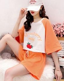 夏季网红运动套装女小清新短袖T恤胖MM大码夏新款宽松休闲两件套