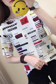 9012#实拍短袖t恤女2019新款夏装韩版数码印花上衣打底衫学生半袖