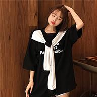 实拍 100%棉 港风韩版中长款宽松假两件印花短袖T恤女潮