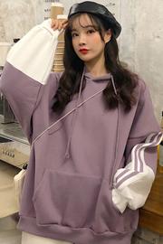 8303#(实拍)250克  学生连帽拼色原宿风宽松长袖卫衣女加绒加厚