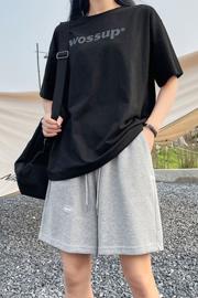 [米呢面料]运动短裤女夏宽松直筒卫裤显瘦休闲阔腿ins潮五分裤