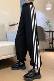 1709# 实拍 小视频 65鱼鳞  秋季休闲运动裤女新款高腰束脚阔腿裤