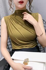 实拍!欧洲站2020夏季新款百搭简约纯色褶皱修身无袖T恤上衣女