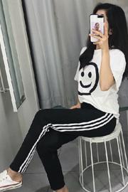 【叁腔调网批】时尚套装女宽松大笑脸短袖T恤+外穿小脚打底裤韩版