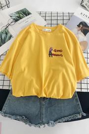 纯棉面料 实拍 卡通印花韩版T恤女短袖圆领宽松学生上衣