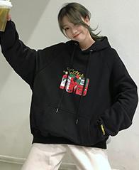 63#  秋冬新款紫色加绒长袖连帽卫衣女 250
