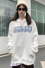 1178【实价】薄款情侣装卫衣男女连帽字母潮牌休闲简约外套上衣