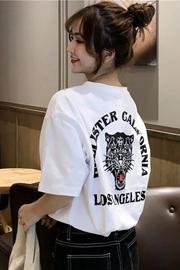【官图】Q10#港风短袖t恤女ins潮2019新款夏装宽松学生上衣慵懒风