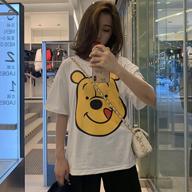 【6535棉 实拍】2019新款韩版bf风宽松胖妹妹200斤大码短袖t恤女