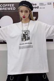 实拍#新款韩版原宿bf风黑白人物印花宽松短袖T恤女装上衣ins潮