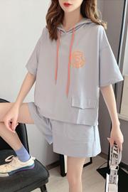 官图 6535棉短裤两件套女宽松夏季新款小个子休闲运动套装
