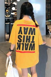 6613#实拍有视频【100%纯棉】欧货大版字母印花t恤港风中长款t恤