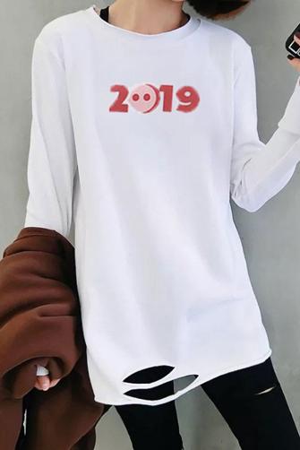 【官图】3020#180双磨牛奶丝 t恤女韩版长袖宽松下摆破洞打底衫