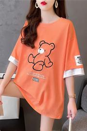 实拍独家8716#35棉韩版刺绣假两件贴布潮牌中长款插色短袖T恤女