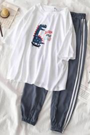 【1960#套装】短袖t恤+休闲长裤原版尺码夏季高质量小恐龙印花
