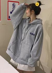 545#【实拍 250克加绒卫衣】cec字母外套学生宽松韩版拉链卫衣女