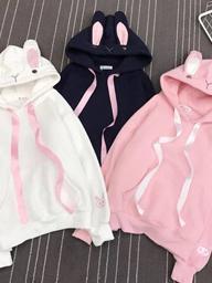 1001#日系甜美粉色刺绣兔耳朵加绒连帽卫衣女可爱少女学生闺蜜装