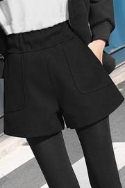 700#毛呢短裤秋冬款 新款黑色阔腿显瘦加厚外穿宽松休闲靴裤