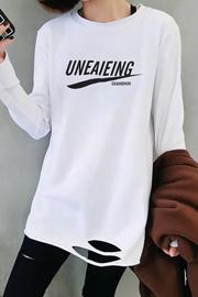 0743#2019秋季新款白色t恤女装长袖宽松下摆破洞内搭中长款打底衫