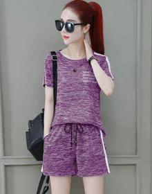 9943#夏季两件套女短袖短裤新款宽松大码跑步运动服套装女休闲装