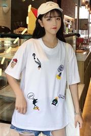 6520#【实拍】65/35精梳棉 刺绣韩版短袖女 控价25以上