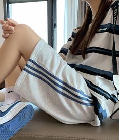 实拍9362#运动短裤女夏ins潮bf风休闲学生高腰中裤跑步宽松五分裤