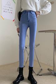 1002#【实拍实价】韩版浅色弹力牛仔女修身显瘦小脚铅笔裤女学生