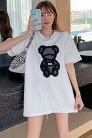 1058【实拍】2021小熊中长款宽松短袖韩版女潮加厚休闲百搭T恤女