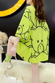 官方版8771#35棉卡通韩版中长款韩版印花短袖T恤女