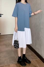 233实拍2020夏季新款不规则宽松百搭休闲设计感小众大码中长t恤裙