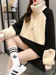 7084【实拍】300克羊羔绒卫衣女冬拼接加绒加厚高领拉链大码女装