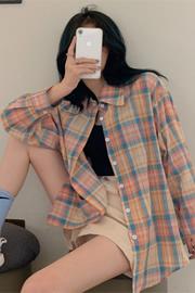 014#【实拍 全棉】格子衬衣夏防晒2020秋款长袖宽松大码上衣韩版
