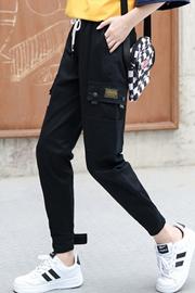 国潮法式工装裤女酷宽松bf帅气嘻哈街头高腰显瘦束脚潮牌九分长裤