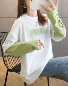 实拍#【26支纯棉】B325#假两件长袖t恤女韩版宽松新款春秋ins潮