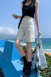 短裤女2021春夏装新款宽松学生高腰显瘦直筒阔腿休闲五分裤牛仔裤