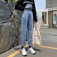 新款直筒牛仔裤女高腰显瘦韩版休闲阔腿裤20早秋港风牛仔裤女宽松