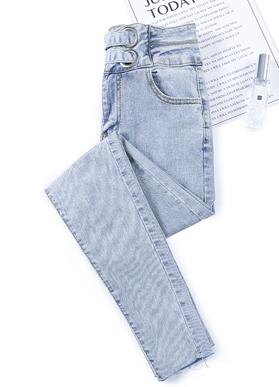 高腰牛仔裤女2020年春季新款显瘦显高修身百搭紧身小脚铅笔裤子装