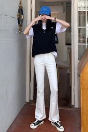 弹力修身高腰显瘦牛仔裤女2021年新款春夏两色百搭喇叭长裤子潮