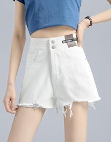 2021春季新款纯色黑白高腰牛仔短裤女两个色S~XL