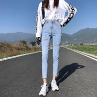 2020春季新款显瘦小脚高腰变色牛仔裤女紧身铅笔九分超火初恋裤子