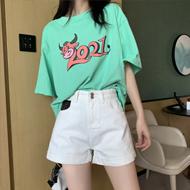 高腰牛仔短裤女2021年夏季浅色时尚卷边a字宽松阔腿***超短热裤