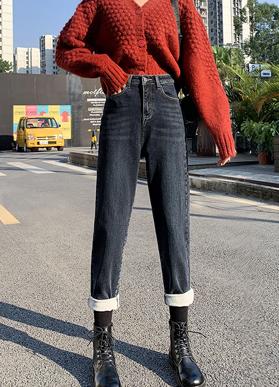 牛仔裤女冬装2020年高腰弹力高显瘦宽松加绒阔腿哈伦萝卜老爹裤