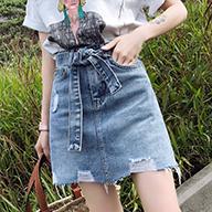 可拆卸带子高腰破洞牛仔半身裙女2019新款包臀裙chic韩版百搭裙夏