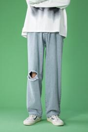破洞牛仔裤男士2021新款休闲百搭韩版潮流直筒裤港风潮牌帅气长裤