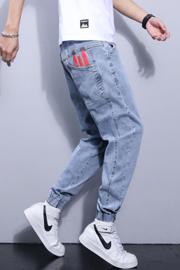 春夏新款男士牛仔裤男士休闲裤男士束脚裤男士哈伦裤牛仔裤男